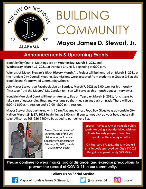 Mayor S Newsletter For March 2021 City Of Irondale